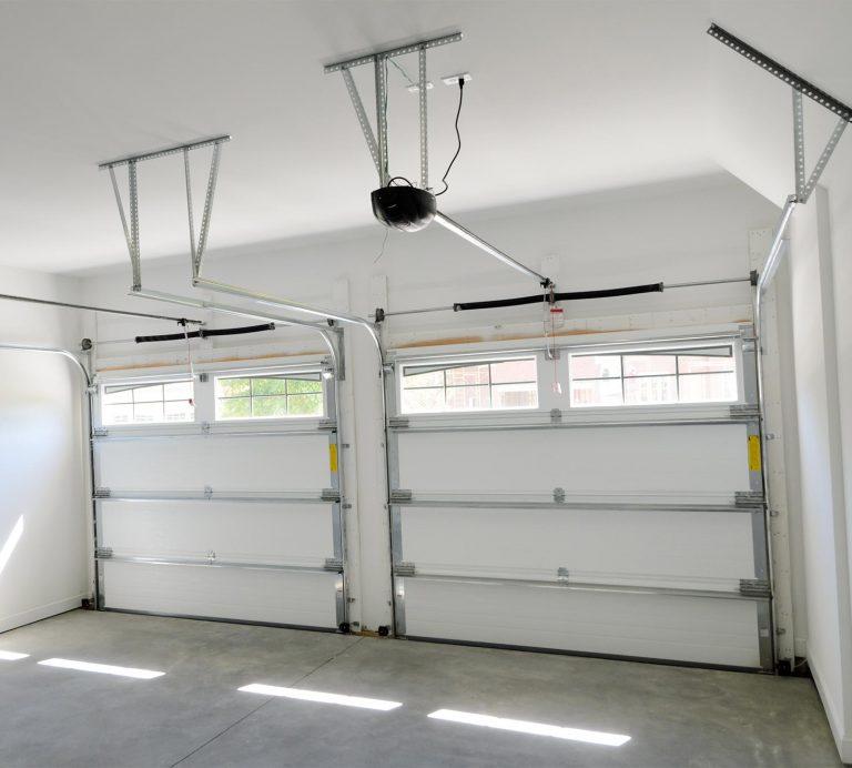 interior view of garage doors